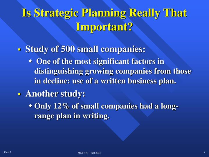 Is Strategic Planning Really That Important?