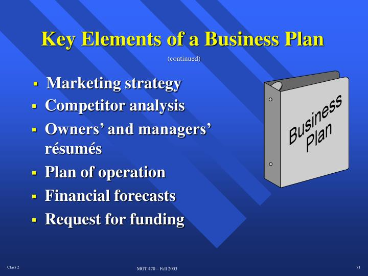 Key Elements of a Business Plan