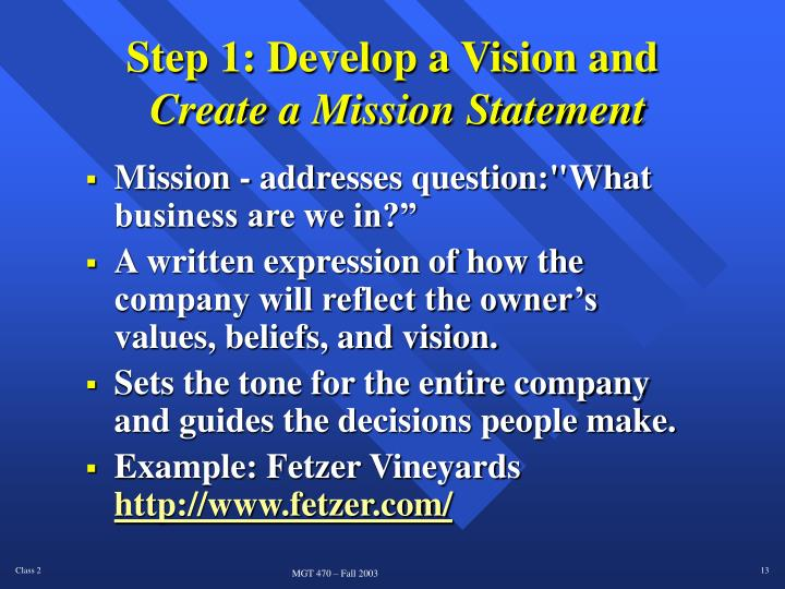 Step 1: Develop a Vision and