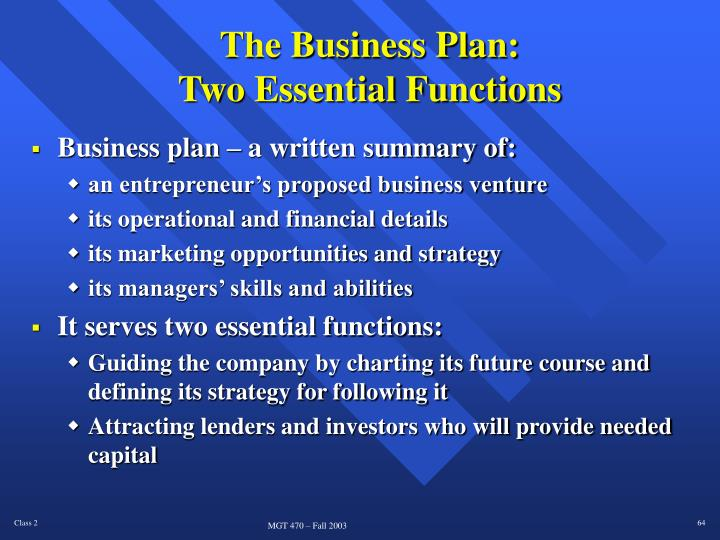 The Business Plan: