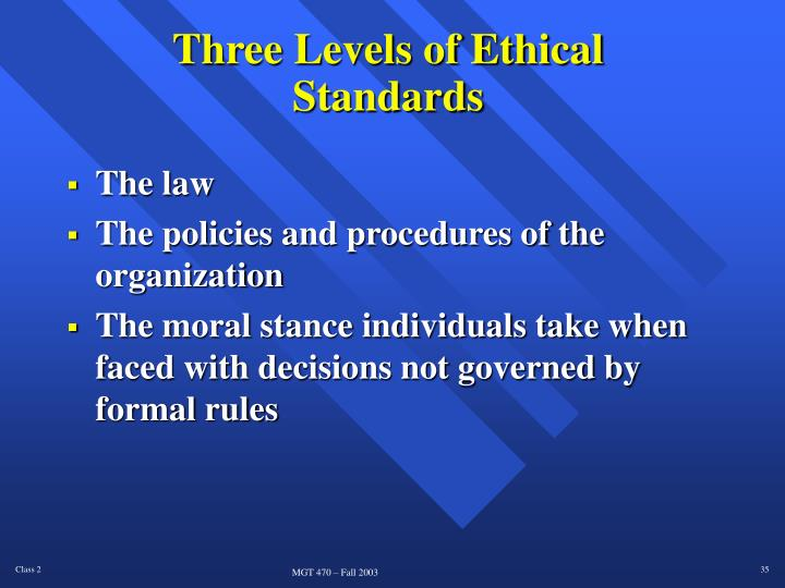 Three Levels of Ethical Standards