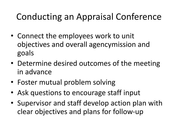 Conducting an Appraisal Conference