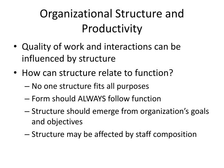 Organizational Structure and Productivity