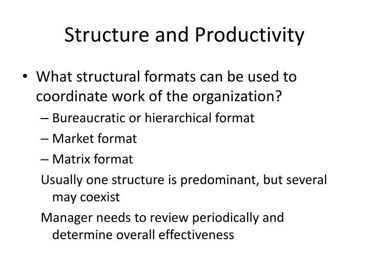 Structure and Productivity