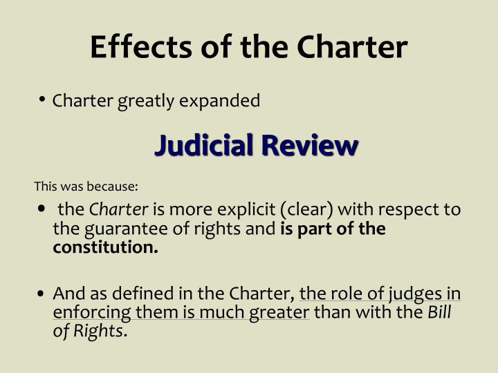 Effects of the Charter