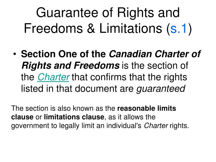 Guarantee of Rights and Freedoms & Limitations (