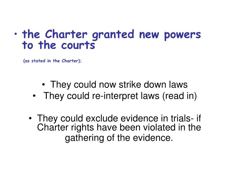 the Charter granted new powers to the courts