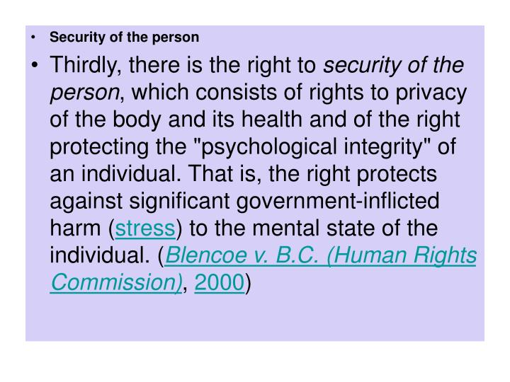 Security of the person