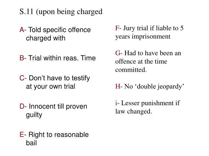 S.11 (upon being charged