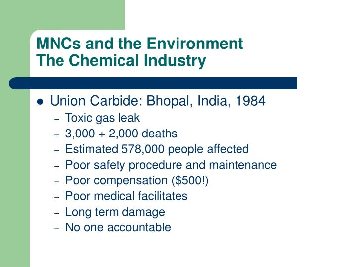 Mncs and the environment the chemical industry