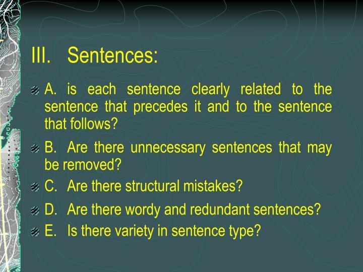 III.Sentences: