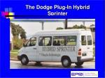 the dodge plug in hybrid sprinter