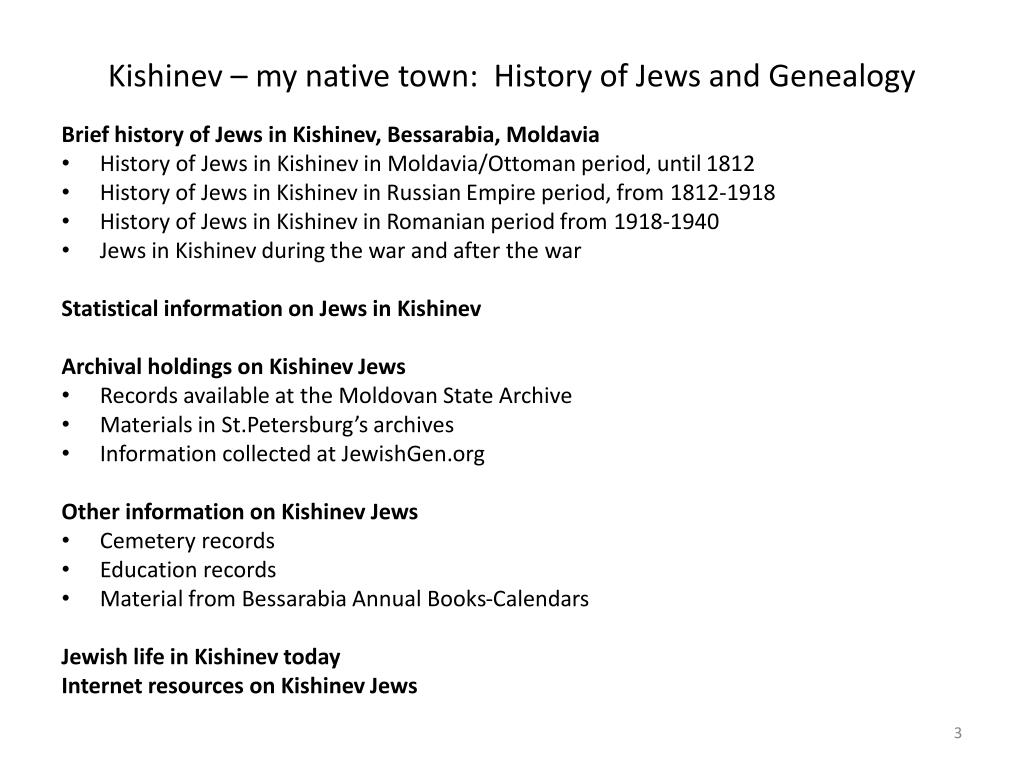 PPT - Kishinev – my native town: History of Jews and Genealogy