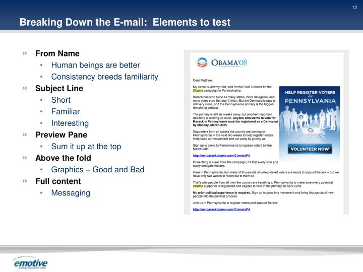 Breaking Down the E-mail:  Elements to test