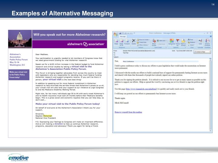 Examples of Alternative Messaging