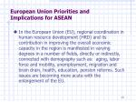 european union priorities and implications for asean1