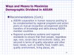ways and means to maximize demographic dividend in asean2