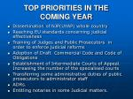 top priorities in the coming year
