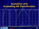 evaluation 4 4 evaluating ne classification