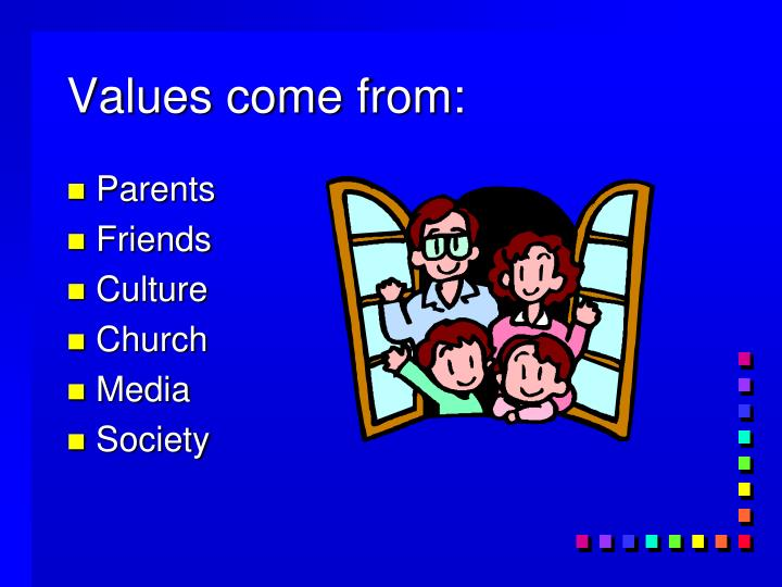 Values come from: