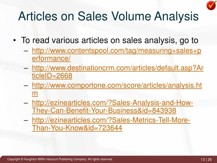 Articles on Sales Volume Analysis