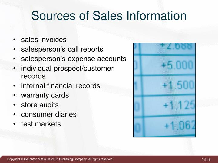 Sources of Sales Information