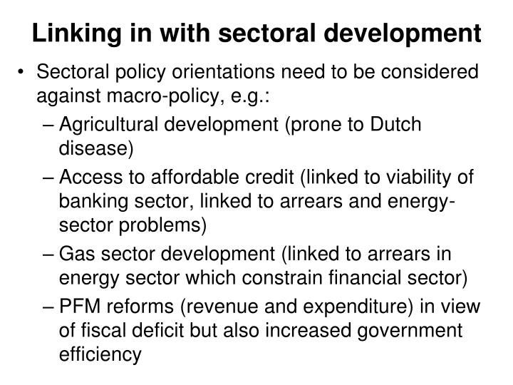 Linking in with sectoral development