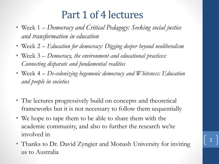 Part 1 of 4 lectures