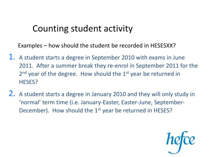 Counting student activity