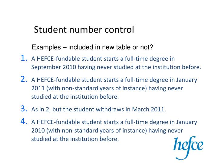 Student number control