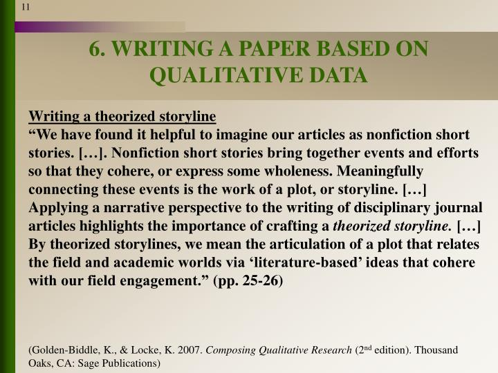 6. WRITING A PAPER BASED ON QUALITATIVE DATA