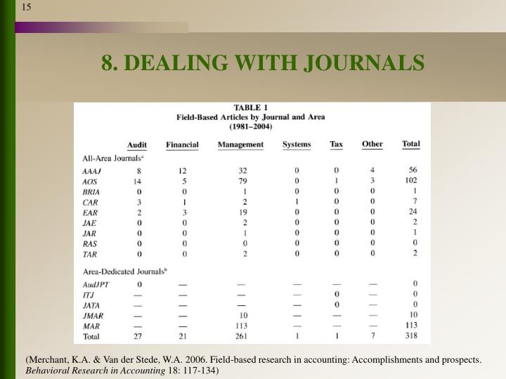 8. DEALING WITH JOURNALS