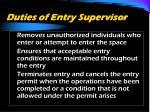 duties of entry supervisor2