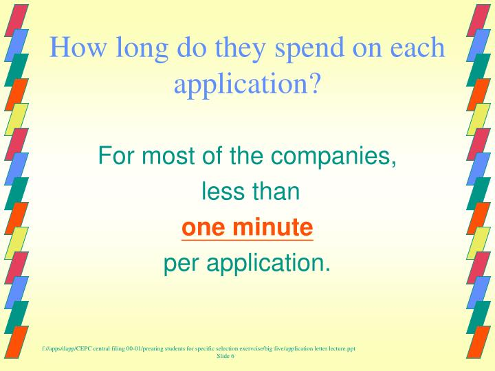 How long do they spend on each application?