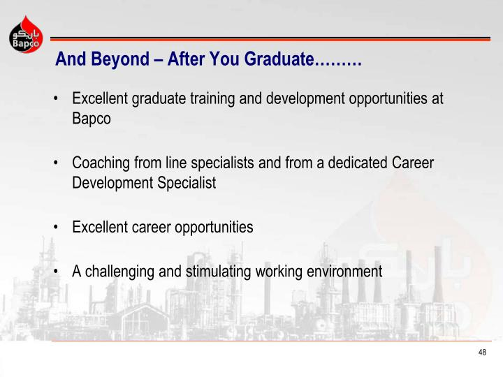 And Beyond – After You Graduate………