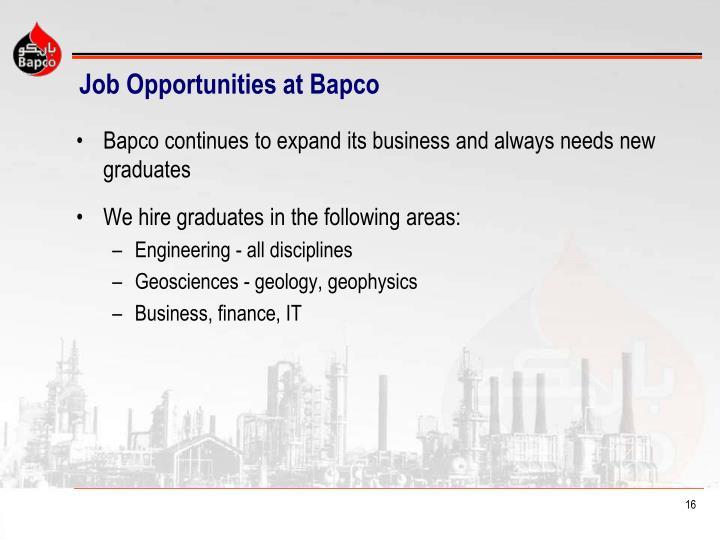 Job Opportunities at Bapco