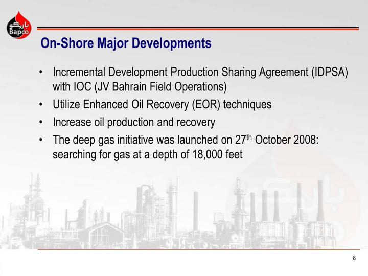 On-Shore Major Developments