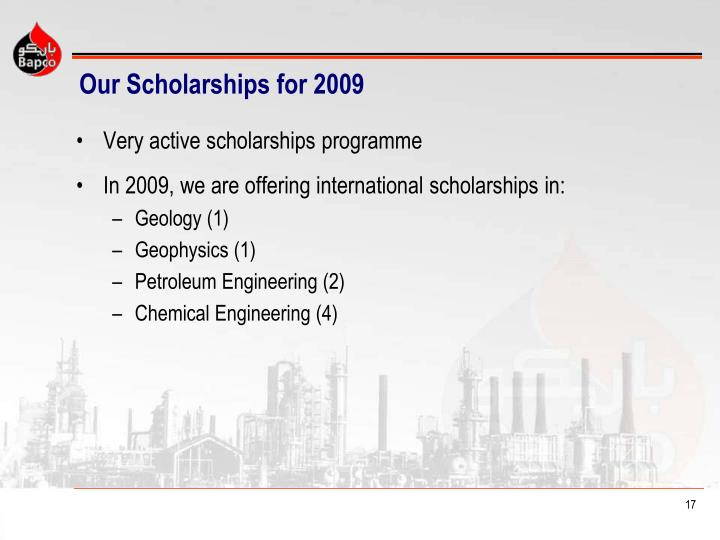 Our Scholarships for 2009
