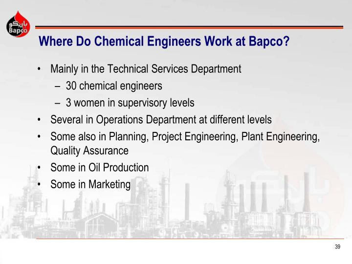 Where Do Chemical Engineers Work at Bapco?