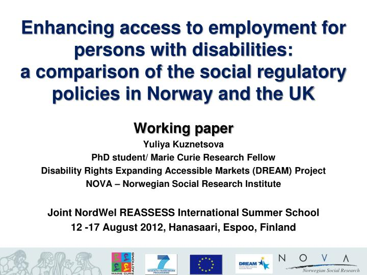 research papers on disability Nber working papers are circulated for discussion and comment purposes they have not been  understanding the improvement in disability free life expectancy in the us elderly population  2004 manton et al, 1993, 1997, 2001, 2006) however, little research has examined why disability-free life expectancy has so greatly, and in.