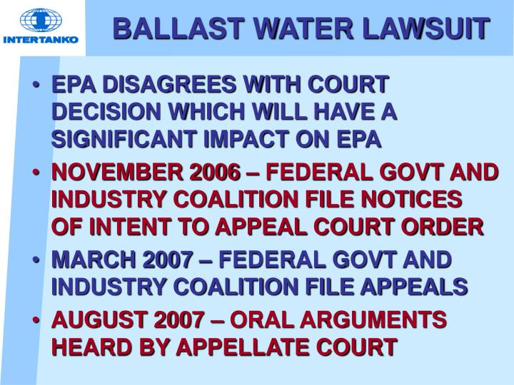 BALLAST WATER LAWSUIT