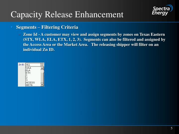 Capacity Release Enhancement