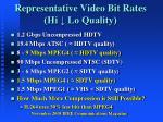 representative video bit rates hi lo quality1