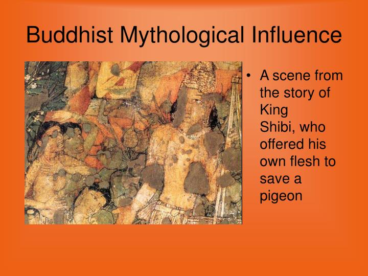 A scene from the story of King Shibi,who offered his own flesh to save a pigeon