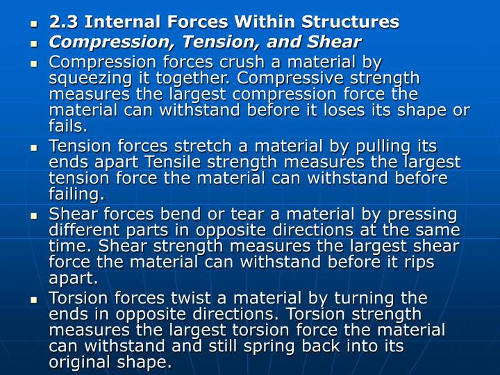 2.3 Internal Forces Within Structures