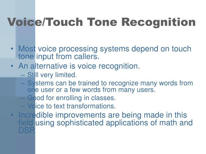 Voice touch tone recognition