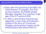 developments within home affairs