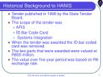 historical background to hanis