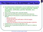 the objectives of blueprint task team