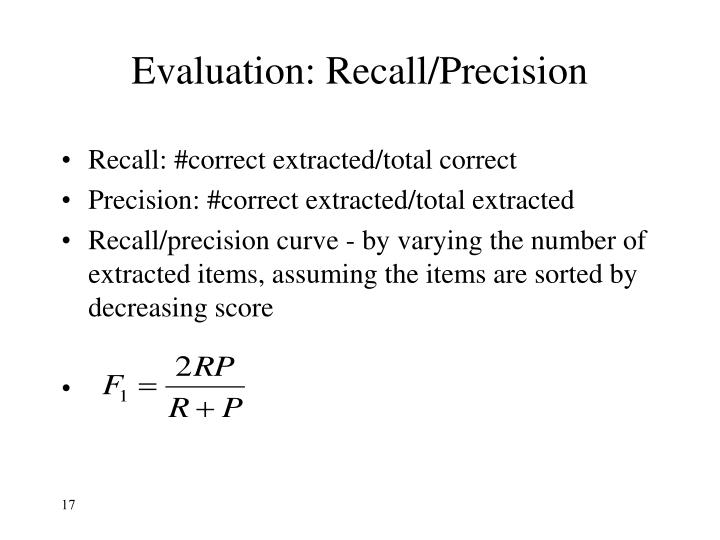 Evaluation: Recall/Precision